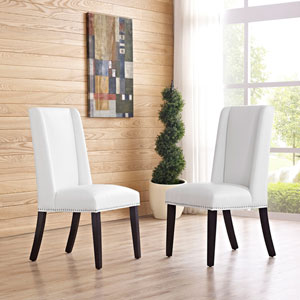 Baron Vinyl Dining Chair in White