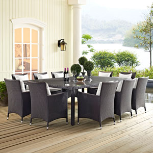 Convene 11 Piece Outdoor Patio Dining Set in Espresso White