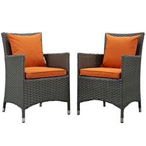 Sojourn 2 Piece Outdoor Patio Sunbrella® Dining Set in Canvas Tuscan