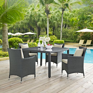 Sojourn 4 Piece Outdoor Patio Sunbrella® Dining Set in Antique Canvas Beige