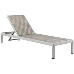Shore Outdoor Patio Aluminum Rattan Chaise in Silver Gray