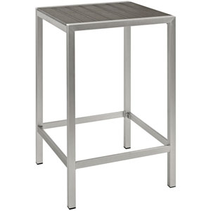 Shore Outdoor Patio Aluminum Bar Table in Silver Gray