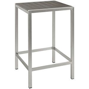 Shore Outdoor Patio Aluminum Bar Table in Silver Gray
