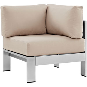 Shore Outdoor Patio Aluminum Corner Sofa in Silver Beige