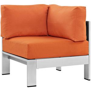 Shore Outdoor Patio Aluminum Corner Sofa in Silver Orange