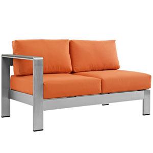 Shore Left-Arm Corner Sectional Outdoor Patio Aluminum Loveseat in Silver Orange