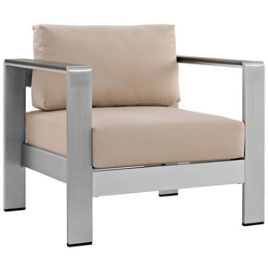 Shore Outdoor Patio Aluminum Armchair in Silver Beige