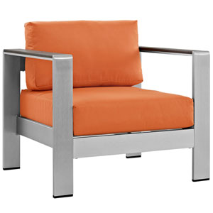 Shore Outdoor Patio Aluminum Armchair in Silver Orange