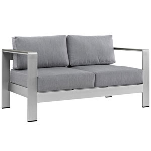 Shore Outdoor Patio Aluminum Loveseat in Silver Gray