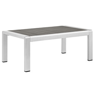 Shore Outdoor Patio Aluminum Coffee Table in Silver Gray