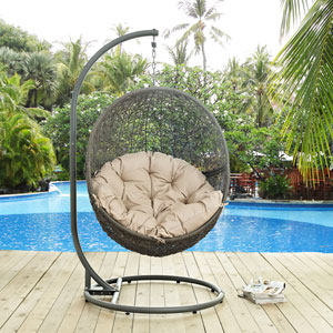 Hide Outdoor Patio Swing Chair in Gray Beige