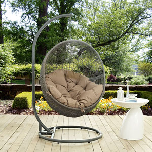 Hide Outdoor Patio Swing Chair in Gray Mocha