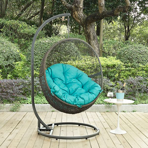 Hide Outdoor Patio Swing Chair in Gray Turquoise