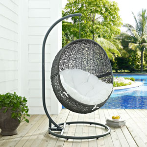 Hide Outdoor Patio Swing Chair in Gray White