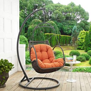 Arbor Outdoor Patio Wood Swing Chair in Orange
