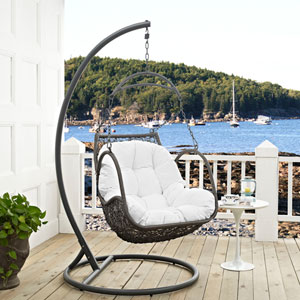 Arbor Outdoor Patio Wood Swing Chair in White