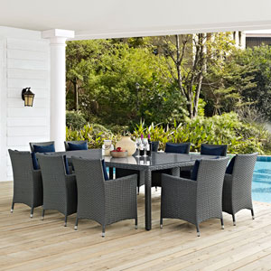 Sojourn 11 Piece Outdoor Patio Sunbrella® Dining Set in Canvas Navy