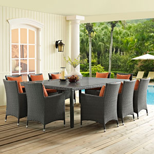 Sojourn 11 Piece Outdoor Patio Sunbrella® Dining Set in Canvas Tuscan