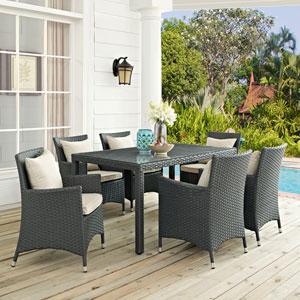 Sojourn 7 Piece Outdoor Patio Sunbrella® Dining Set in Antique Canvas Beige
