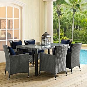 Sojourn 7 Piece Outdoor Patio Sunbrella® Dining Set in Canvas Navy