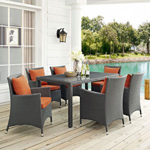 Sojourn 7 Piece Outdoor Patio Sunbrella® Dining Set in Canvas Tuscan