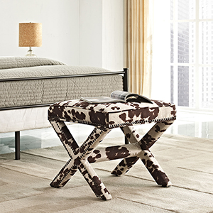 Rivet Upholstered Fabric Bench in Cow