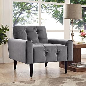 Delve Velvet Armchair in Gray