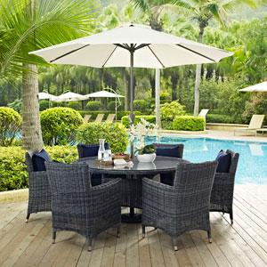 Summon 8 Piece Outdoor Patio Sunbrella® Dining Set in Canvas Navy