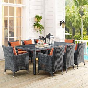 Summon 9 Piece Outdoor Patio Sunbrella® Dining Set in Canvas Tuscan
