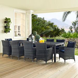 Summon 11 Piece Outdoor Patio Sunbrella® Dining Set in Canvas Navy