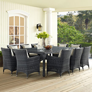 Summon 11 Piece Outdoor Patio Sunbrella® Dining Set in Antique Canvas Beige