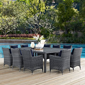 Summon 11 Piece Outdoor Patio Sunbrella® Dining Set in Canvas Navy