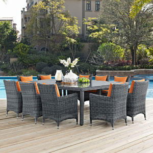 Summon 11 Piece Outdoor Patio Sunbrella® Dining Set in Canvas Tuscan