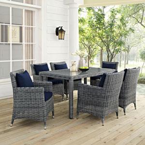 Summon 7 Piece Outdoor Patio Sunbrella® Dining Set in Canvas Navy