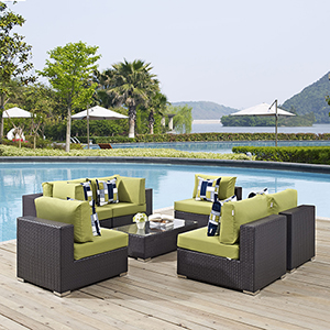 Convene 7 Piece Outdoor Patio Sectional Set in Espresso Peridot