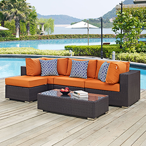 Convene 5 Piece Outdoor Patio Sectional Set in Espresso Orange