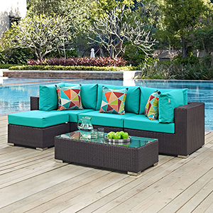 Convene 5 Piece Outdoor Patio Sectional Set in Espresso Turquoise