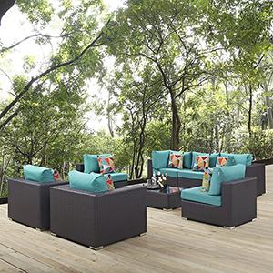 Convene 8 Piece Outdoor Patio Sectional Set in Espresso Turquoise