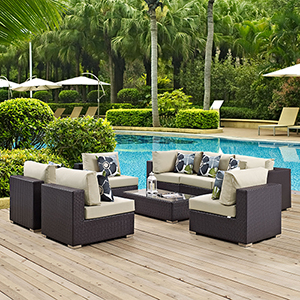 Convene 8 Piece Outdoor Patio Sectional Set in Espresso Beige