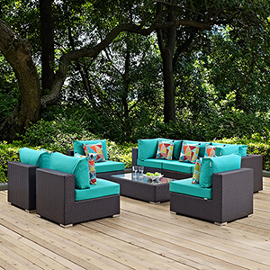 Convene 8 Piece Outdoor Patio Sectional Set in Espresso Turquoise