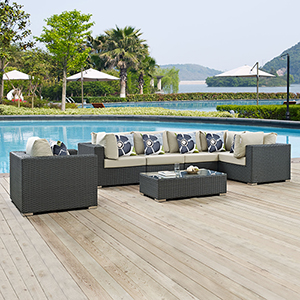 Sojourn 7 Piece Outdoor Patio Sunbrella Sectional Set in Canvas Antique Beige