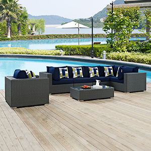 Sojourn 7 Piece Outdoor Patio Sunbrella Sectional Set in Canvas Navy