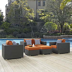 Sojourn 5 Piece Outdoor Patio Sunbrella Sectional Set in Canvas Tuscan