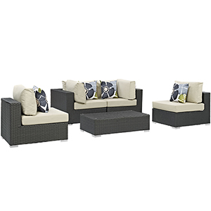 Sojourn 5 Piece Outdoor Patio Sunbrella Sectional Set in Canvas Antique Beige