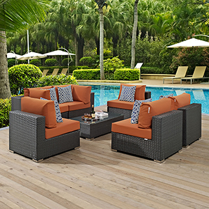 Sojourn 7 Piece Outdoor Patio Sunbrella Sectional Set in Canvas Tuscan