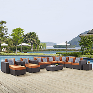Sojourn 11 Piece Outdoor Patio Sunbrella Sectional Set in Canvas Tuscan