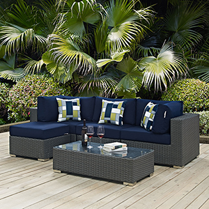 Sojourn 5 Piece Outdoor Patio Sunbrella Sectional Set in Canvas Navy