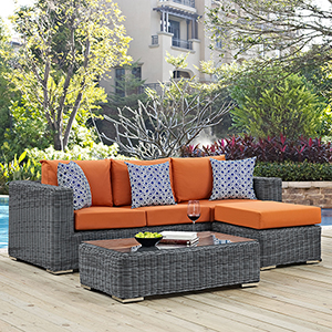 Summon 3 Piece Outdoor Patio Sunbrella Sectional Set in Canvas Tuscan