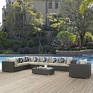 Sojourn 7 Piece Outdoor Patio Sunbrella Sectional Set in Chocolate Beige
