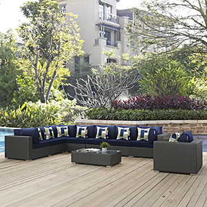 Sojourn 7 Piece Outdoor Patio Sunbrella Sectional Set in Chocolate Navy